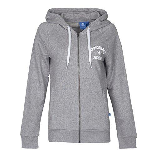 Wordmark Full Zip Hoodie - adidas Originals Women's Full Zip Fashion Hoodie (Small, Medium Grey Heather)