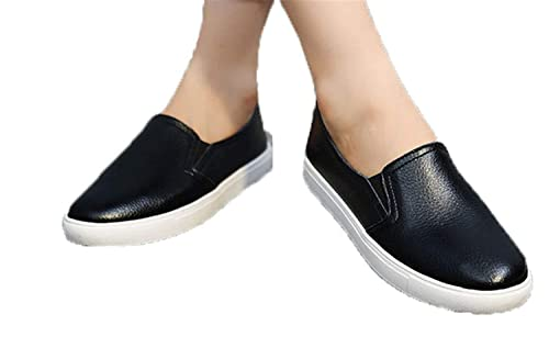 Amazon.com | UNIOPLIIL Women Leather Loafers Casual Flats Shoes Woman Slip On Female Shoes Moccasins slipony Zapatos Mujer | Loafers & Slip-Ons