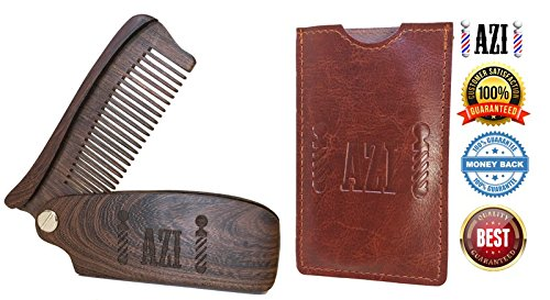 Folding Beard & Mustache Comb by Azi- Vintage Barbershop Style Pocket Size (with Carrying Case) Anti-Static Sandalwood Comb Promotes Healthy Facial - With Beard Styles Mustache