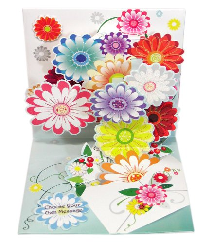 Pop-Up Greeting Card Flowers Bursting Out of Envelope Up With Paper #1008