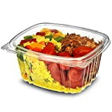 Genpak AD16 Clear Hinged Deli Container, 16oz, 5 3/8 x 4 1/2 x 2 5/8, 2 Bags of 100 (Case of 2)