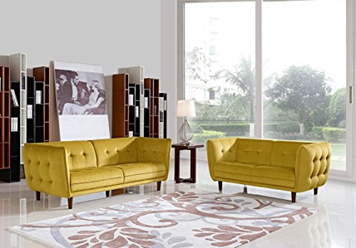 Divani Casa Avro Modern Yellow Fabric Sofa Set