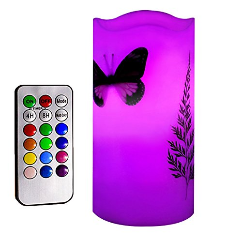 Flameless LED Candles with 18-key Remote Timer 5'' Tealight Butterfly & Plants Decor Real Wax Electric Candle Lights 12 Color Changing for Kitchen/Home/Indoor/Outdoor Party Anniversary Father's Day