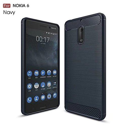 Nokia 6 Case, Mangix [Scratch Resistant] Super Lightweight Ultra Slim Thin Carbon Fiber Scratch Resistant Shock Absorption Soft TPU Protective Cover for Nokia 6 (Blue)