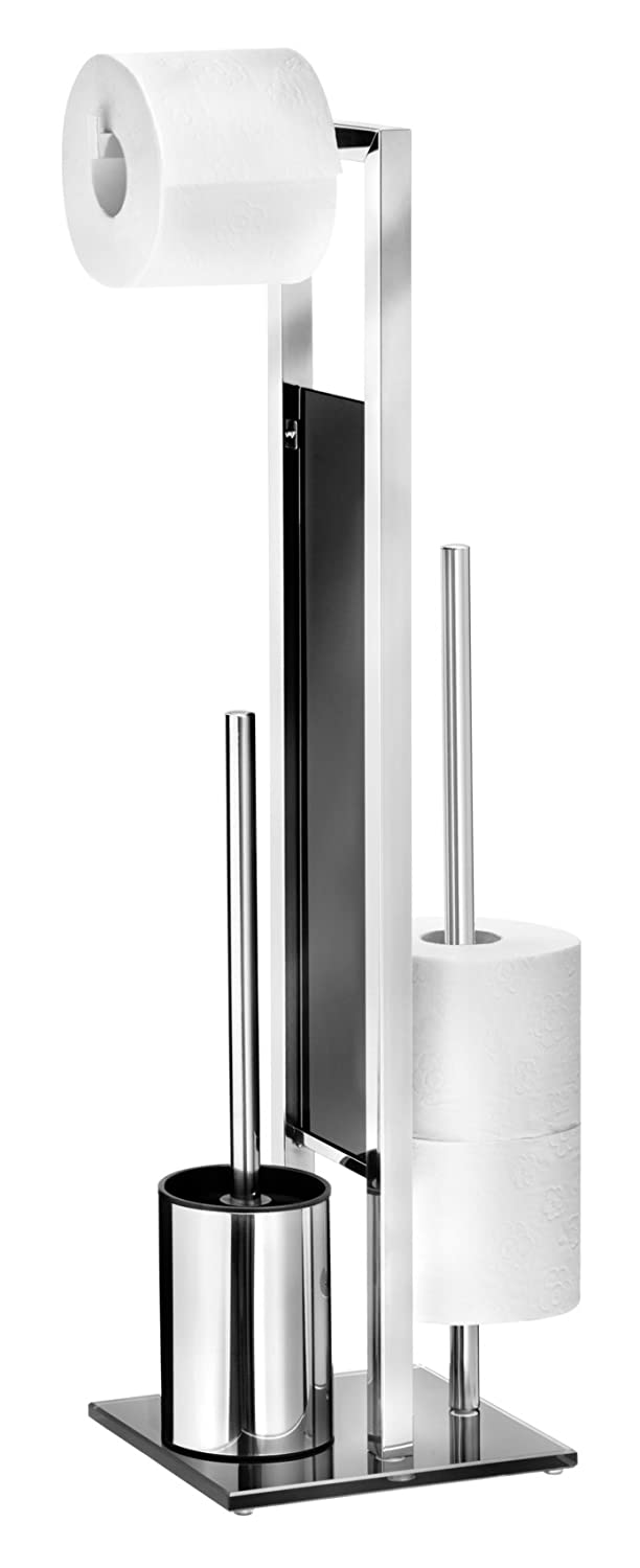 Wenko Standing Toilet Accessory Rivalta Toilet Brush Holder Rust-Proof Stainless Steel Pack of 20x 18x 70cm 22983100