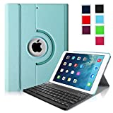 Fintie iPad Air Keyboard Case - Ultra Slim 360 Degree Rotating Stand Cover with Magnetically Detachable Wireless Bluetooth Keyboard for Apple iPad Air (iPad 5) - Blue