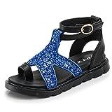 CYBLING Kids Girls Glitter Sandals Open Toe Flat Ankle Strap Leather Sandals (Toddler/Little Kid/Big Kid)