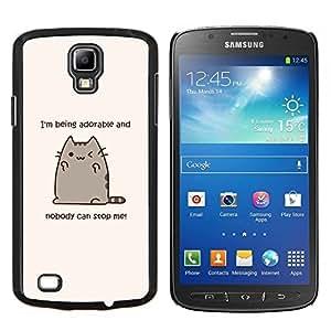 Cita Gato adorable gatito divertido dibujo- Metal de aluminio y de plástico duro Caja del teléfono - Negro - Samsung i9295 Galaxy S4 Active / i537 (NOT S4)