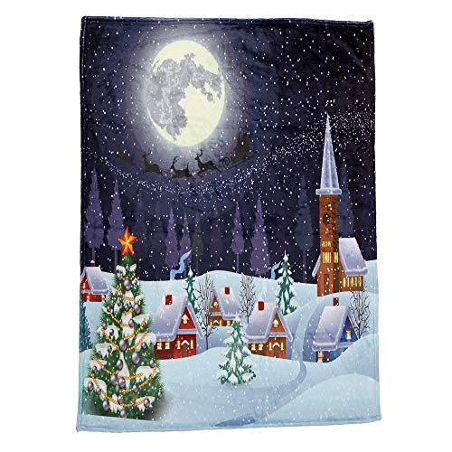 Holiday Christmas Decorative Flannel Fabric Blanket Soft Warm Printed Blanket Bed Chair Couch Camping Picnic,Big Promotion Clearance (B, 51X59