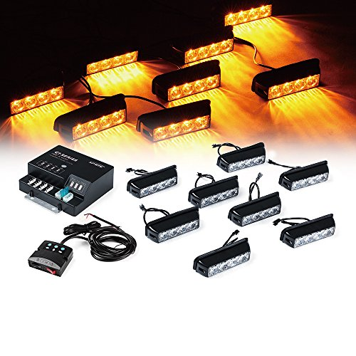 Xprite G1 Series Yellow Amber 4 LED 4 W 8 Heads 32 LED Hide A Way Emergency Vehicle Strobe Warning Lights Lightbars For Deck Dash Grill Windshield Headliner - Hide Top Bar