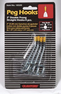 CRAWFORD PROD DIV OF JARDEN SAFETY 18320 2-Double Straight Peg Hook, 1/8-Inch, (Straight Peg Hook)