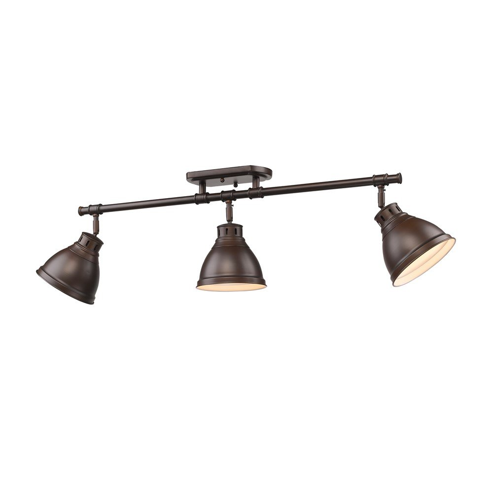 Golden Lighting 3602-3SF RBZ-RBZ Duncan - Three Light Semi-Flush Mount, Rubbed Bronze Finish