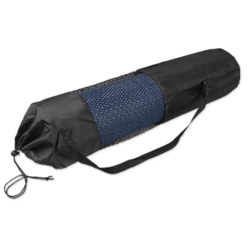 Portable Yoga Mat Bag Nylon Carrier Washable Adjustable Strap Carry (Black)