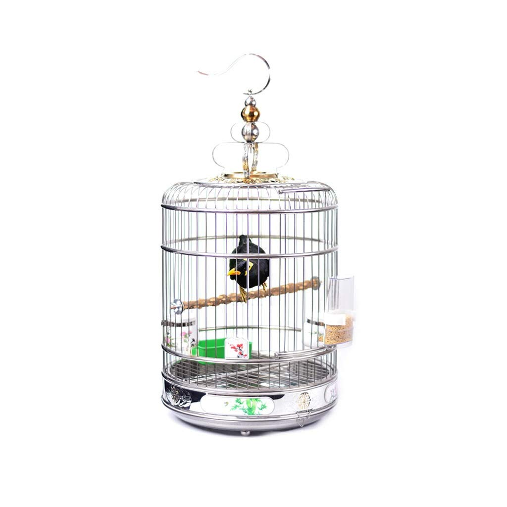 Bird Cage Model Round Hollow Bird Nest Stainless Steel Hanging Bird Cage Parrot Canary Small Animal Bird Cage Perched Bird Carrier (Size : L) by Tengxiang-Birdcages