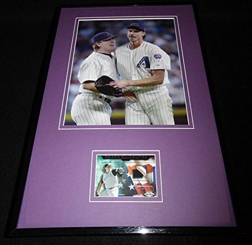 Curt Schilling Framed 3 Color Game Used Jersey Patch & Photo Display DBacks - Baseball Game Used (Curt Schilling Framed Photo)
