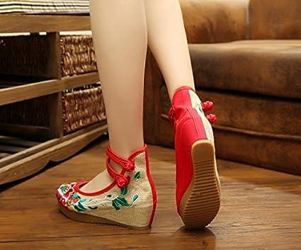 GuiXinWeiHeng xiuhuaxie (new)-Gestickte Schuhe, Leinen, Sehnensohle, ethnischer Stil, erh?hte weibliche Schuhe, Mode, bequem, l?ssig, red, 38