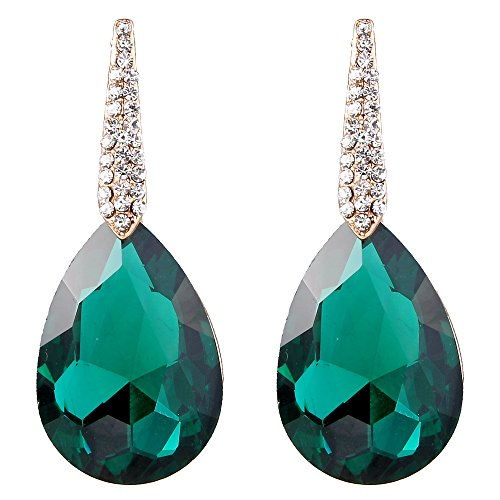 BriLove Women's Wedding Bridal Crystal Teardrop Beaded Dangle Chandelier Earrings Gold-Tone Emerald Color Dangle Chandelier Earrings