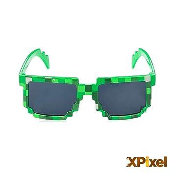 Spainbox Gafas de Sol Pixel Unisex para Niños y Adultos - Protección UV400 y CE - Color Verde