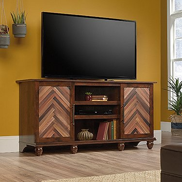 Sauder Viabella TV Stand in Curado Cherry - Cherry Media Center