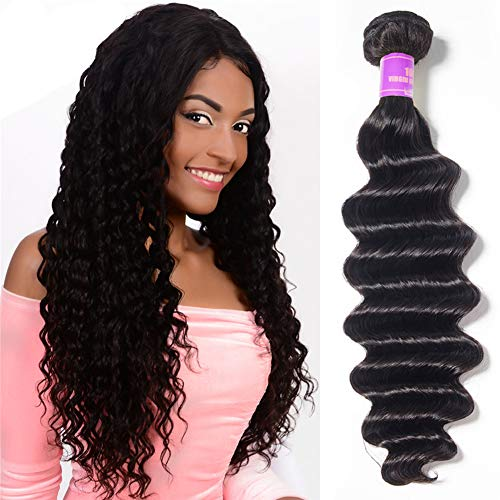 Ugrace Hair Loose Deep Wave Bundles 1 Bundle 10 Inch Loose Deep Curly Hair Brazilian Virgin Human Hair Extensions ()