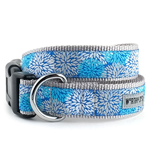 The Worthy Dog   Mum's the Word, Flower Pattern  Adjustable Designer Pet Dog Collar , Blue, L ()