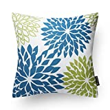 Decorative Pillow Cover - Phantoscope New Living Blue&Green Decorative Throw Pillow Case Cushion Cover Dahlia-BG 1 Piece