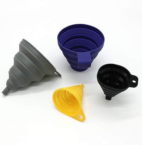 Nubstoer Lot de 2 mini entonnoirs pliables en silicone pour huile Violet