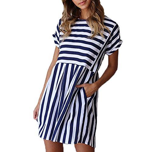 ChongXiao Women Stiped Dress Casual Cute Short Sleeve O-Neck Mini Summer Dresses for Women (Blue, XL)