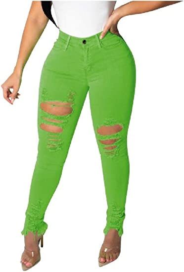 Romancly Womens Classic Sexy Hipster Ripped-Holes Skinny Color Stylish Pure Jeans