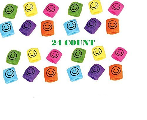 24 SMILEY FACE Wristbands ~ Assorted Colorful Wristbands ~ Sports Fan ~ Birthday Sports Party Favor ~ Team coach Prize ~ Giveaway Gift Stocking Stuffer ~ Easter Basket ~ Summer (Baseball Smiley Face)