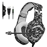 ONIKUMA Pro Gaming Headset with Noise-Cancelling Microphone (Universal) Support PC, PS4, Xbox, Switch Video Game Play | 7.1 Stereo Surround Sound, Memory Foam Ear Cups CAMO