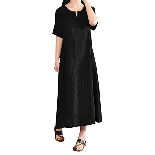 c93f49e986f FEITONG Womens Summer Casual Boho Cotton Linen Maxi Long Dress Beach Kaftan  Plus Size(Small