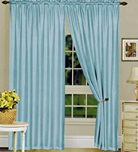 Elegance Linen One Window Curtain Satin Panel With Rod Pocket 60 Inch Width X 90