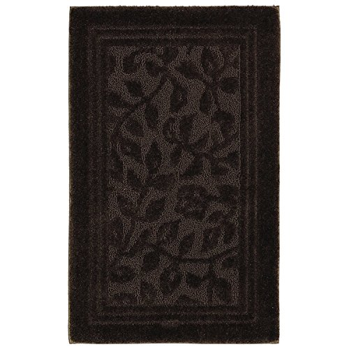 Single Piece Chocolate Wellington Rug, Floral Pattern, Nylon Material, Non-Skid Latex Bath Rug Backing, Simple Elegance Fancy Cut & Loop Design Mat, Easy Clean, Machine Washable, Dark Brown