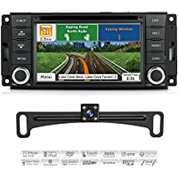 Aimtom 2007-2017 Jeep Wrangler Dodge Grand Caravan RAM1500 InDash Car 7 Inch Touch Screen GPS Navigation System with Backup Camera Radio Stereo CD DVD Bluetooth Infotainment Copyrighted iGo Primo Map