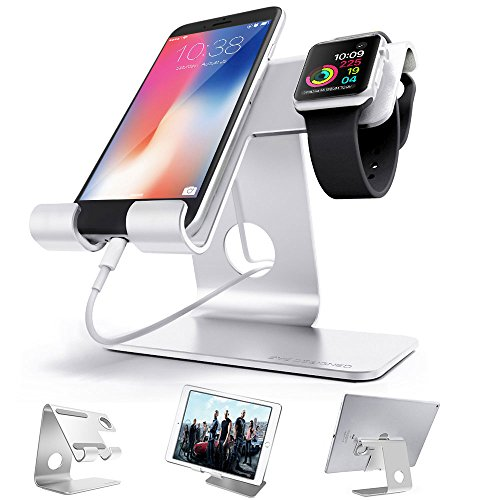 ZVE Universal 2 in 1 Aluminium Desktop Charging Stand for iWatch, Smartphone and Tablets Up to 12.9-Inch - Silver Stand with 38mm case (Case Samsung Tab 4s)