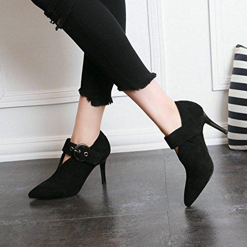 mit Katze Neue Stiefel weibliche einem Schuhe spitzen schwarz nackte Allgleiches Winter Damen mit kurzen feinen Gürtelschnalle AJUNR und Mode Stiefeletten Set Fuß Neue hochhackigen vqRCIZw4