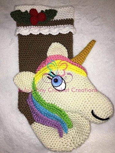 Unicorn Christmas Stocking - Christmas Gift - Christmas Decoration Stocking Stuffer - Holiday Gift - Unicorn - Child Christmas Stocking - Children's Christmas Gift - Crochet (Handmade Crocheted Stocking)