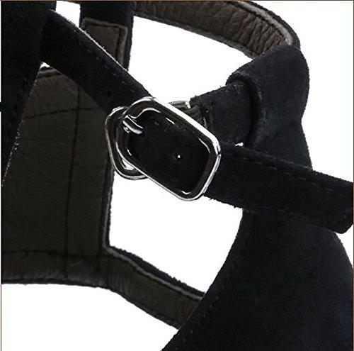 SYYAN Femmes Suède Pointu Bouche De Poisson Manuel Pompe Robe Des Sandales NOIR , black , 41