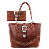 Trinity Ranch by Montana West Concealed Carry Tote Handbag Wallet Set Buckle Basketweave TR31G-8014 (Brown)