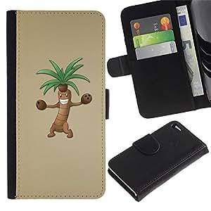 A-type (Árbol divertido del baile) Colorida Impresión Funda Cuero Monedero Caja Bolsa Cubierta Caja Piel Card Slots Para Apple Apple iPhone 4 / iPhone 4S