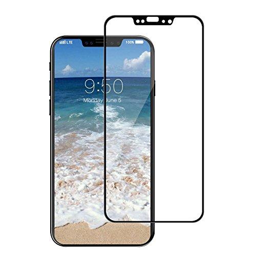 腐敗レイ努力iPhoneX 5.8インチ用強化ガラスフィルム 全面フルカバータイプ 9H ソフトエッジ 液晶保護 炭素繊維 強化ガラスフィルム (ブラック)