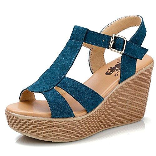 Lake Blue De Casual Lin Con Plataforma Pastel Sandalias Zapatos Cuero Sandalias Roma De Tacones Verano Con De Calzado Xing Mujer Pendiente Sandalias Rd176n1z