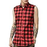 LIWEIKE Mens Hipster Hip Hop Sleeveless Side Zipper Plaid Shirt Vest (Red, X-Large)