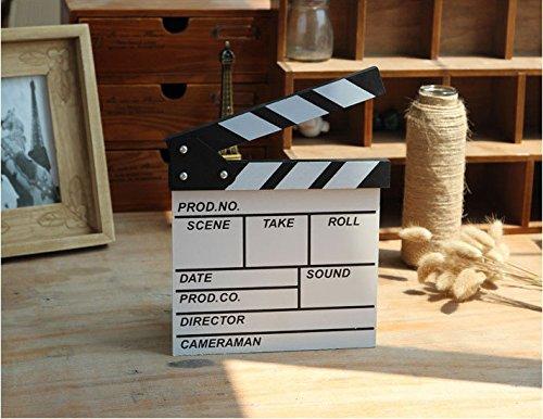 Chris-Wang 1Pcs Professional Vintage Wooden TV Movie Film Clap Board Slate Cut Prop Director Clapper Clapboard Slateboard, Mini Size 7.87