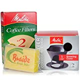 Melitta Coffee Maker Single Cup Pour Over Coffee Brewer with Natural Brown Cone Coffee Filters #2 100-Count and a Braidz Scrub Pad