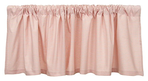 Glenna Jean Cottage Collection Rose Window Valance, Pink Gingham, -