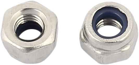 Aexit M3x0.5mm 304 Nylon Nylock contre-/écrou hexagonal Ton Argent 100pcs 388Z577