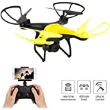 Dwi Dowellin WiFi FPV Drone with 720P HD Tiltable Camera Lens 23mins Long Flight Time RC Quadcopter with Altitude Hold 3D Flips Rolls Trajectory Flight One Key Take Off Landing Return Headless Mode