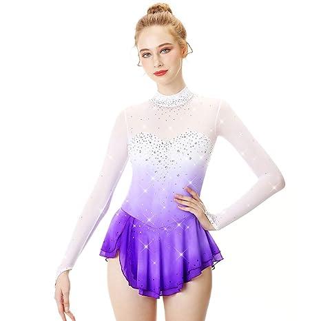 YunNR Moda Profesional Vestido de Patinaje Artístico para Damas ...